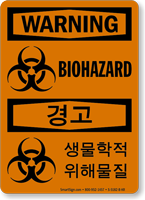Biohazard Symbol Sign In English + Korean