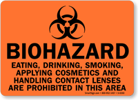 Biohazard Eating Smoking Cosmetics Prohibited Sign