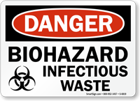 Biohazard Infectious Waste OSHA Danger Sign