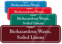Biohazardous Waste Soiled Linens ShowCase Wall Sign