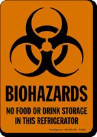 No Food Drink Storage In Refrigerator Biohazards Sign