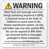 BPA Exposure Prop 65 Sign