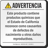BPA Exposure Prop 65 Sign