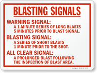 Blasting Signal, Warning Safety Sign