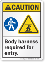 Body Harness Required For Entry ANSI Caution Sign