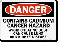 Danger: Contains Cadmium Cancer Hazard Sign