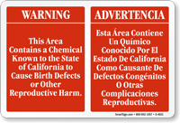 Chemical Known To The State Of California Sign