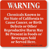 Chemicals Causing Cancer May Be Present Sign