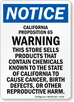 California Proposition 65 Warning OSHA Notice Sign