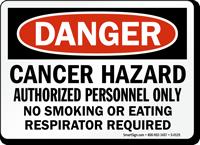 Danger Cancer Hazard Respirator Required Sign
