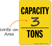 Capacity Tons Sign