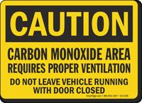 Carbon Monoxide Area OSHA Caution Sign