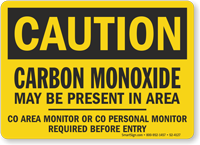 Carbon Monoxide Present Monitor Required Caution Sign