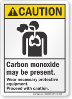 Carbon Monoxide May Be Present ANSI Caution Sign