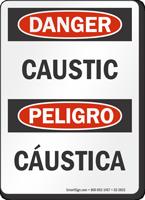 Caustic Bilingual OSHA Danger Sign