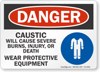Caustic Will Cause Severe Burns OSHA Danger Sign