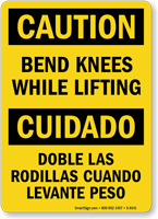 Bilingual Caution Bend Knees Lifting Sign