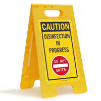 Caution Disinfection In Progress Do Not Enter Floor Sign