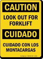 Caution Forklift Bilingual Sign