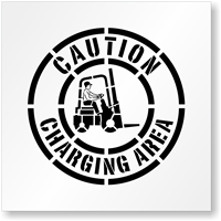 Caution Forklift Charging Area Stencil