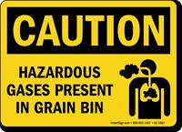 Caution, Hazardous Gases Present In Grain Bin Sign