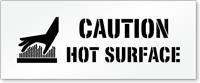 Caution, Hot Surface Floor Stencil with Graphic