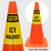 Caution Icy Walkway Cone Collar