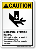 Caution Mechanical Crushing Hazard Sign