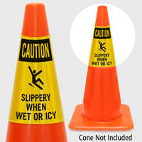 Caution Slippery When Wet Or Icy Cone Collar