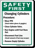 Safe Cylinder Handling Instructions Sign