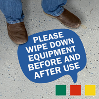 Chat Bubble - Please Wipe Down Equipment Before and After Use