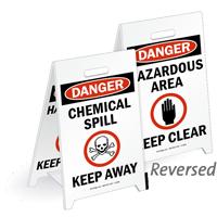 Danger Chemical Spill Reversible Fold-Ups Floor Sign
