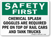 Chemical Splash Goggles Required Sign