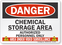 Chemical Storage Area Video Surveillance Sign