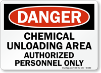 Danger: Chemical Unloading Area Authorized Personnel Only