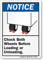 Chock Wheels Before Loading Unloading Sign