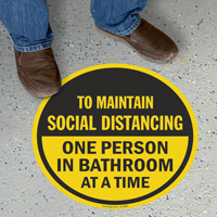 Choose Number of Person In Bathroom Social Distancing Floor Sign