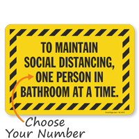 Choose Number of Person In Bathroom Social Distancing Sign