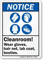 Cleanroom Wear Gloves Hairnet Lab Coat Botties Sign