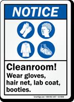Cleanroom Wear Gloves Hairnet Lab Coat Botties Sign