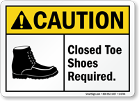 Closed Toe Shoes Required ANSI Caution Sign
