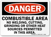 Combustible Area OSHA Danger Sign