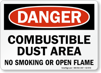 Combustible Dust Area No Smoking Open Flame Sign