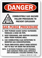 Combustible Gas Hazard Follow Procedure Sign