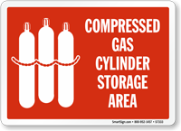 Compressed Gas Cylinder Storage Area with Graphic Sign