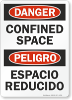 Danger Peligro Confined Space Bilingual Sign
