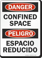 Danger Peligro Confined Space Bilingual Sign
