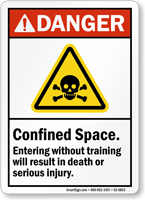 Confined Space, Entering Without Training ANSI Danger Sign