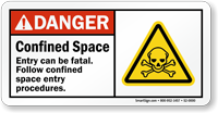 Confined Space, Entry Can Be Fatal Sign