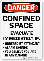 Danger: Confined Space Evacuate Immediately Sign